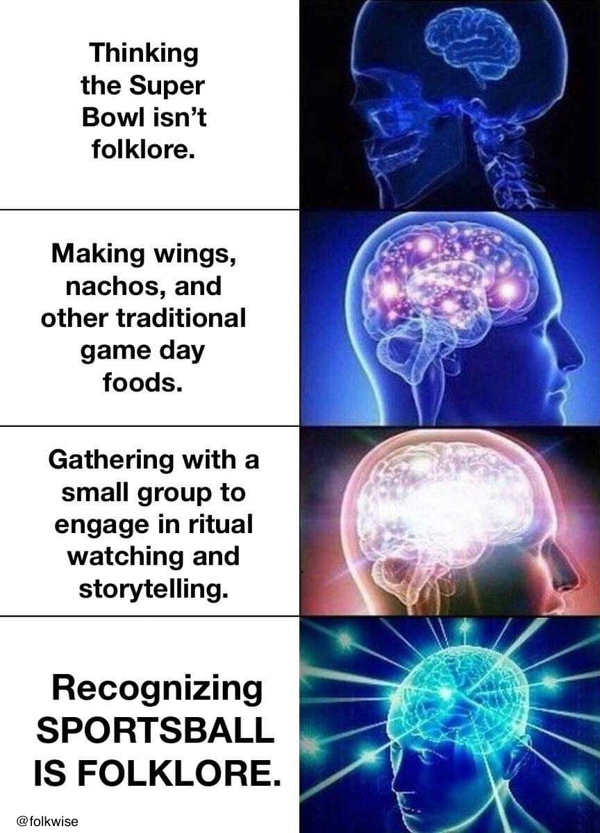 Photo with four text boxes on the left and four images of brain that gradually expand in human head on the right. Text on Left Side: box 1: Thinking the Super Bowl isn't folklore. Box 2: Making wings, nachos, and other traditional game day foods. box 3: Gathering with a small group to engage in ritual watching and storytelling. box 4: Recognizing Sportsball is folklore.