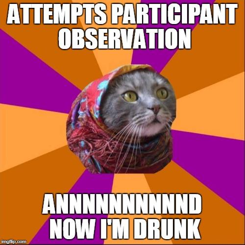 """image of a cat's head with a pink floral headscarf in center surrounded by pink and orange alternating triangle pattern increasing in size from center to emphasize the cat. Upper text reads """"Attempts participant observation"""" and bottom text reads """"Annnnnnnd now I'm drunk"""""""