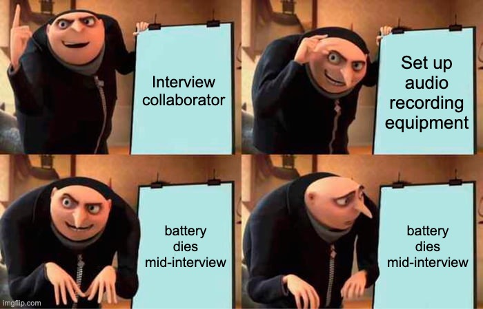 """Four panel image of the Despicable Me villain Gru standing excitedly in front of a presentation board. The first board reads """"Interview collaborator,"""" the second reads """"Set up audio recording equipment,"""" and the third and fourth read """"Battery dies during interview"""" and Gru looks sad when he realizes his plan has fallen short."""